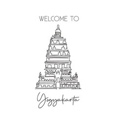 one continuous line drawing prambanan temple vector image
