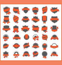 orange stickers set 1 vector image