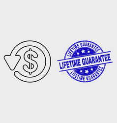 outline dollar refund icon and distress vector image