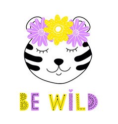 panda with floral wreath vector image