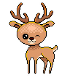 pixel cute deer detailed isolated vector image