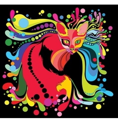 Psychedelic cat vector