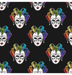 Rainbow mask or jester seamless pattern vector