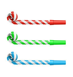 realistic detailed 3d party blower whistles set vector image