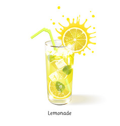 Refreshing lemonade in a glass vector