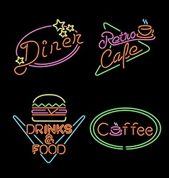 Retro neon light sign set food coffee drink vector image