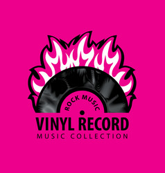 Rock music poster with a vinyl record on fire vector