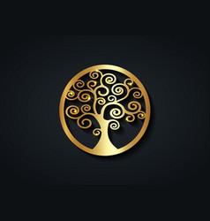 Sacred tree gold round tree life logo icon vector