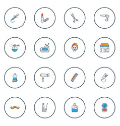 salon icons colored line set with soap face vector image