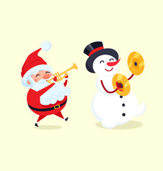 Santa playing on trumpet snowman with drum cymbal vector