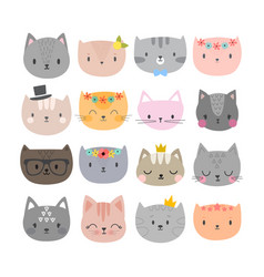 Set of cute fashion cats funny doodle animals vector