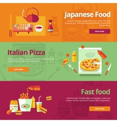 Set of flat design concepts for japanese food vector image
