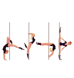 Set of four young pole dance women vector image