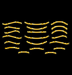 set of golden silk ribbons on black background vector image