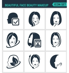 Set of modern icons Beautiful face beauty vector image vector image