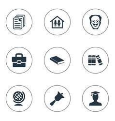 Set of simple school icons elements preschool vector