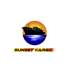 silhouette a cargo ship with a sunset sunrise vector image