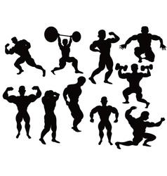 silhouette of bodybuilder vector image vector image