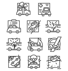 Simple line icons for car insurance vector
