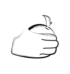 sketch of a hand holding an orange vector image