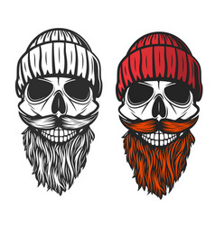 Skull with red beard mustache and knitted hat vector