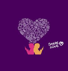 social media share love lesbian concept design vector image