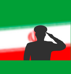 Solder silhouette on blur background with iran vector
