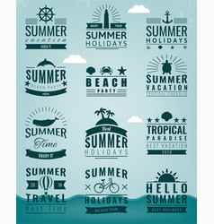 summer labels logos tags and elements set for vector image