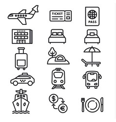 travel icons monochrome vector image