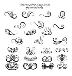unique collection hand drawn swirls and curles vector image