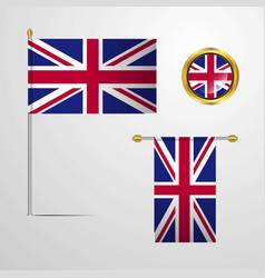 united kingdom waving flag design with badge vector image