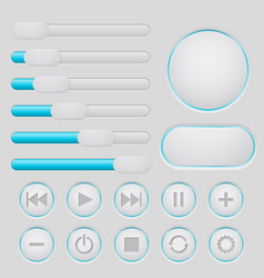 user interface slider buttons set light gray vector image
