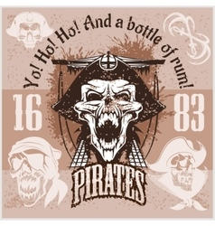 Vintage Pirate Labels or Design Elements With vector image