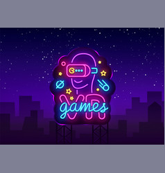 vr games neon sign virtual reality vector image