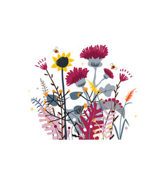 Wild and honey meadow flowers bunch nature vector
