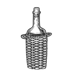 wine bottle carboy engraving style vector image