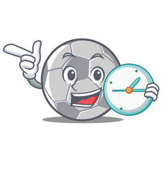 with clock football character cartoon style vector image