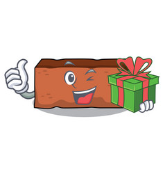 with gift brick mascot cartoon style vector image
