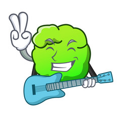 With guitar shrub mascot cartoon style vector