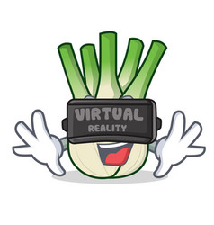 With virtual reality fennel mascot cartoon style vector