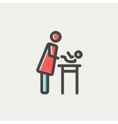 Woman changing the baby diaper thin line icon vector image