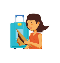 Woman tourist with hat and suitcase vector