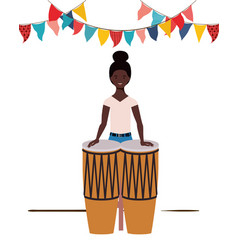 Young woman with congas on white background vector