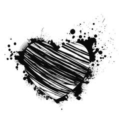 black grunge heart vector image vector image