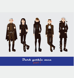 set with dark gothic young men guys vector image vector image