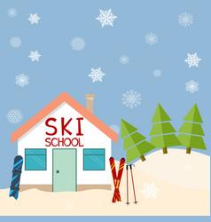 skiing winter season ski school mountains and vector image vector image