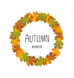 square autumn banner leaves lined in a circle vector image vector image