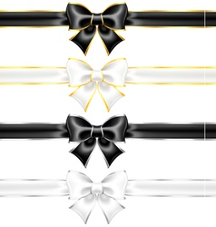 White and black bows with gold and silver edging vector image
