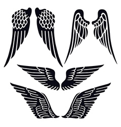 Angel wings set silhouette vector image vector image