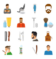 barber flat icons set vector image